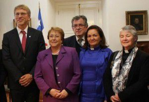 From left to right, Olav Fykse Tveit, President Michelle Bachelet, Gloria Ulloa and Gloria Rojas at the Palacio de La Moneda, Santiago (WCC Marcelo Schneider)