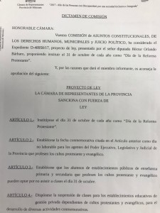 Ley aprobada el 12 de octubre en Misiones que declara el 31 de octubre como Día