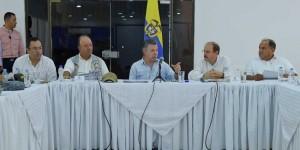 El Presidente Santos durante el Consejo de Seguridad en Arauca este sábado. Foto: Presidencia de la República