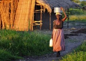 Una mujer lleva agua a su hogar en una aldea en el sur de Malawi. ©ACT/Paul Jeffrey